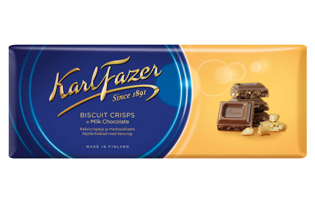Karl Fazer Biscuit crisps in milk chocolate 195 g