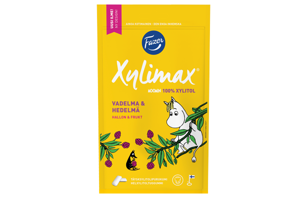 Xylimax Moomin Raspberry & Fruit chewing gum 100 g