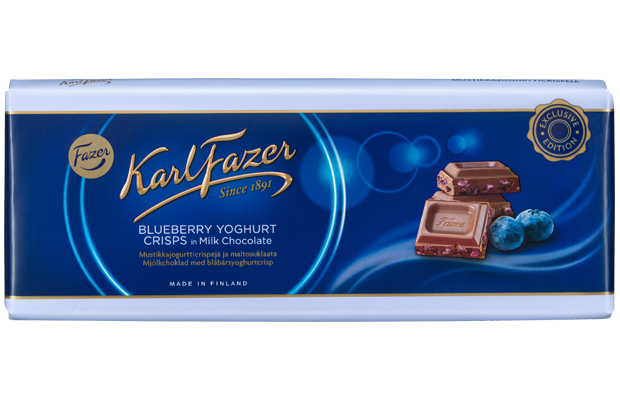 Karl Fazer  Blueberry Yoghurt Crisps in milk chocolate 235 g