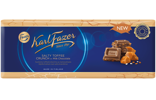 Karl Fazer Salty toffee crunch in milk chocolate 250 g