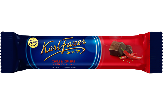 Karl Fazer Chili & crisps in milk chocolate 37 g