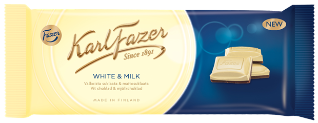 Karl Fazer White chocolate & milk chocolate 100 g