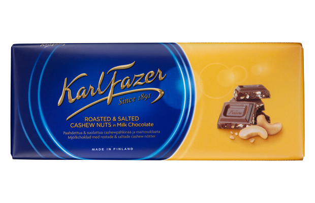 Karl Fazer roasted and salted cashew nuts with milk chocolate 200 g
