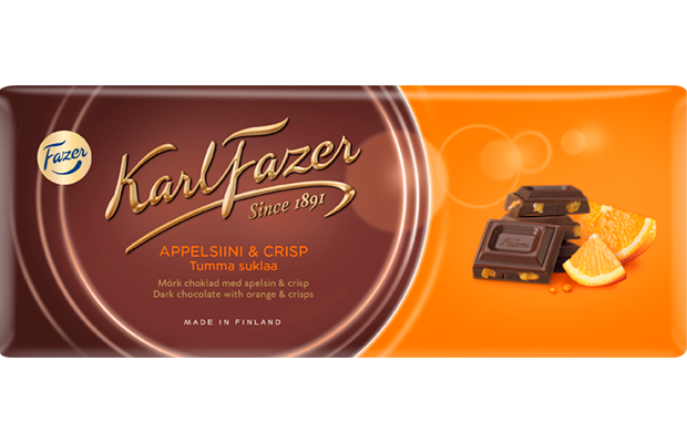 Karl Fazer Orange & Crisps in Dark Chocolate 200g