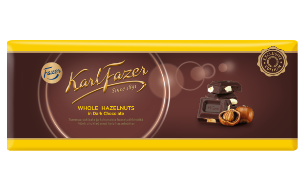 Karl Fazer Dark Chocolate with whole hazelnuts 250 g